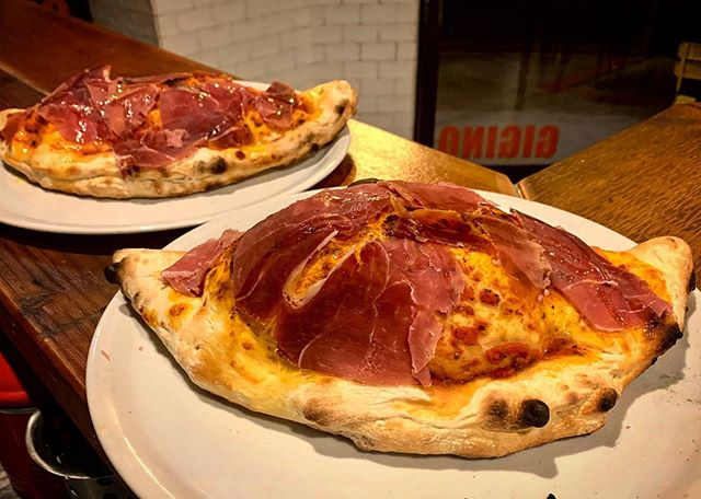 Calzone with pomodoro sauce, mozzarella, fresh ricotta and ham ??... We're open from 5:30pm tonight